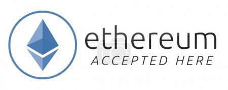 Photo for We accept ethereum. Blue ethereum virtual currency. - Royalty Free Image