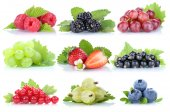 Collection of berries grapes strawberries blueberries berry orga