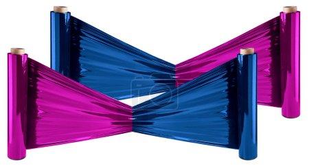 Photo pour Rouleaux de film étirable coloré sur fond blanc - image libre de droit