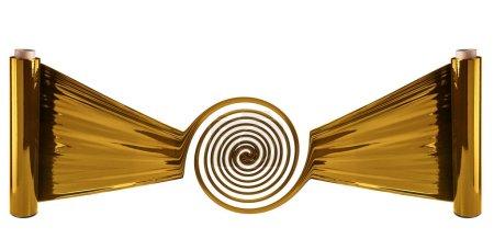 Photo pour Rouleaux de film étirable doré à fond blanc - image libre de droit