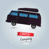 Lets go camping tourists travel by car Funny cartoon minivan