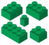 Barevné plastové stavební bloky sada izometrické