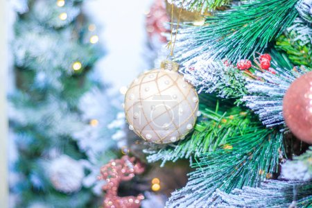 Photo for Christmas tree decorated with colorful toys, New year Holidays concept - Royalty Free Image