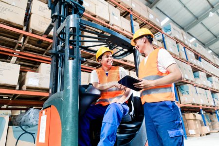 Workers in logistics warehouse