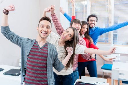 Group of students having fun at college