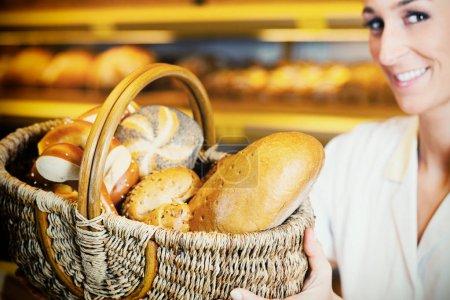 Baker woman selling bread