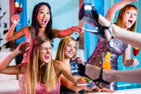 Drunken girls in strip club