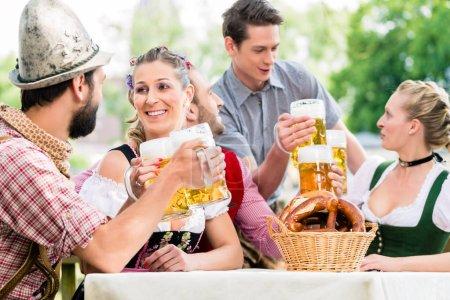 Friends in Bavarian beer garden