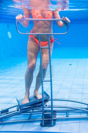 woman in underwater gymnastics therapy