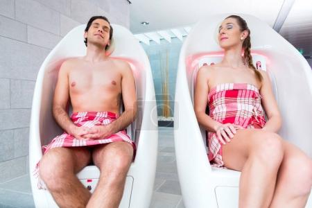 Couple infrared chair of wellness spa