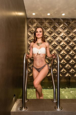 young woman in luxury wellness center