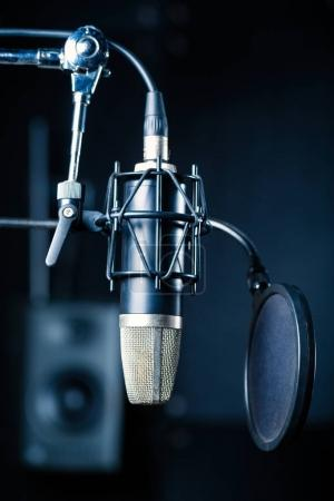 Professional microphone in recording studio