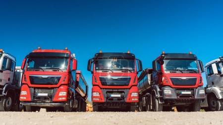 Trucks on premises of freight forwarding company