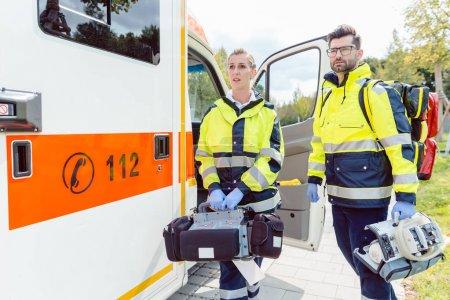 Paramedic nurse and emergency doctor at ambulance