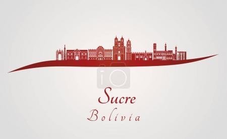 Illustration pour Sucre skyline en fond rouge et gris dans le fichier vectoriel modifiable - image libre de droit