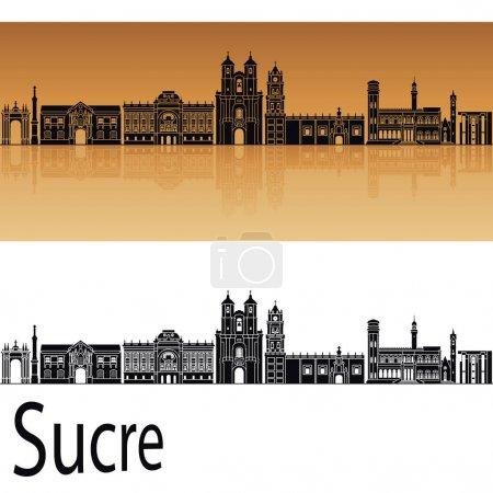 Illustration pour Sucre skyline en fond orange dans le fichier vectoriel modifiable - image libre de droit