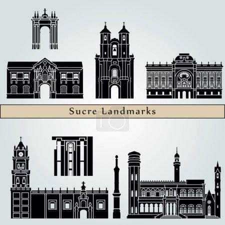 Illustration pour Sucre monuments et monuments isolés sur fond bleu dans un fichier vectoriel modifiable - image libre de droit