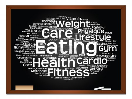 health  word cloud on blackboard