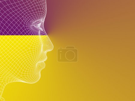 wireframe young human  head