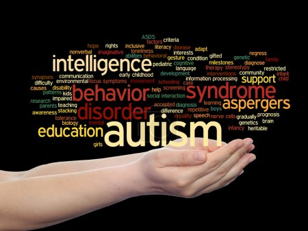 Photo for Concept or conceptual childhood autism syndrome symptoms or disorder abstract word cloud held in hands - Royalty Free Image