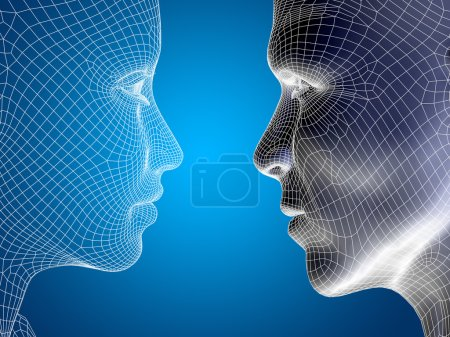 Photo for Concept or conceptual 3D wireframe or mesh human male and female heads on blue gradient background - Royalty Free Image