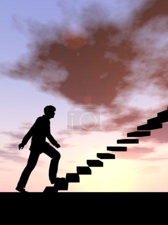 conceptual   businessman  on steps