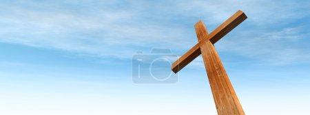 Photo pour Concept d'illustration 3D ou forme conceptuelle de croix en bois ou de symbole religieux sur un ciel bleu avec un fond nuageux - image libre de droit