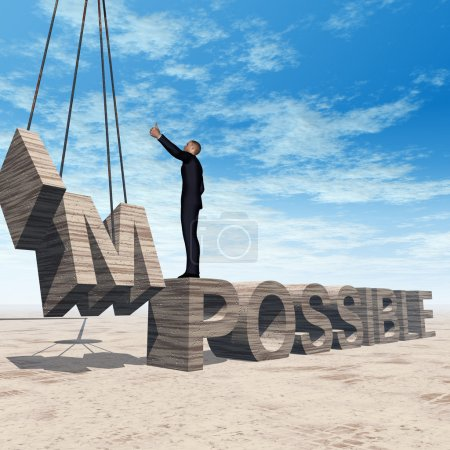 man standing over  impossible text