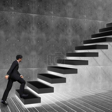 businessman climbing on a stair