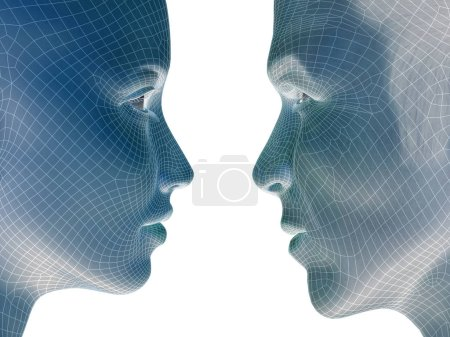 Photo for High resolution concept or conceptual 3D wireframe human male or female heads isolated on background - Royalty Free Image