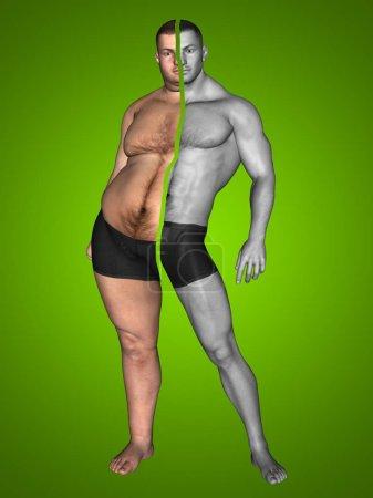 Overweight vs slim man
