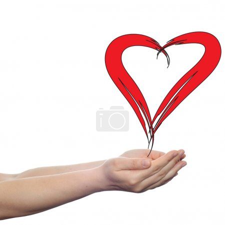 painted red heart in hands