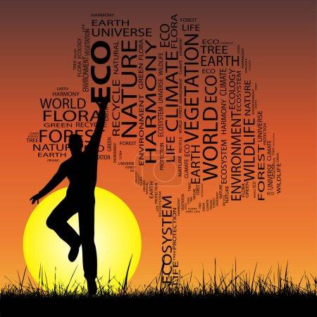Photo pour Concept ou concept noir écologie texte nuage comme arbre et herbe, un homme sautant sur le coucher du soleil avec fond de soleil - image libre de droit