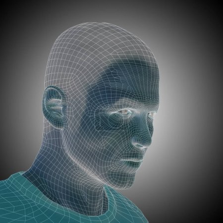 man wireframe head