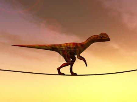 Dinosaurus balancing on rope