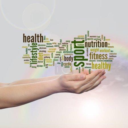 health word cloud in human hands