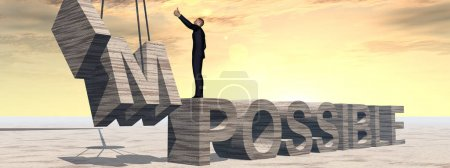 Businessman standing over impossible text