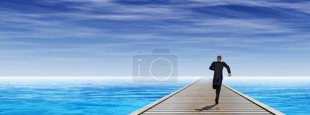 pier with running businessman