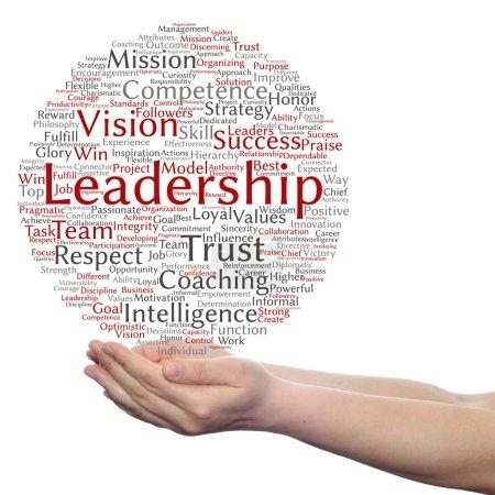Business leadership word cloud in hands