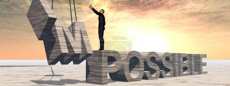 Photo pour Illustration 3d conceptuelle de l'homme d'affaires et texte impossible - image libre de droit