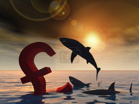 Photo pour Illustration 3d conceptuelle sanglant symbole de l'euro - image libre de droit