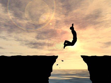 Photo pour Illustration 3d conceptuelle du saut silhouette d'homme d'affaires - image libre de droit
