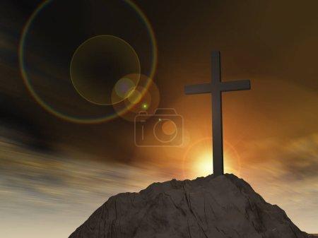 christian cross standing on rock