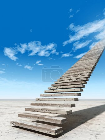 3D illustration stair steps to heaven