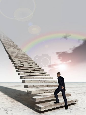 business man walking or climbing stair