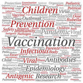 children vaccination or viral prevention square word cloud