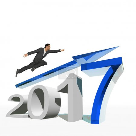 businessman standing over blue 2017 year symbo
