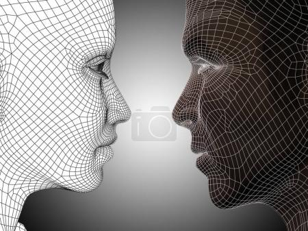 wireframe or mesh human male and female heads