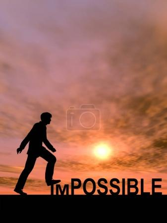 businessman as black silhouette stepping over impossible