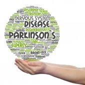 Parkinsons word cloud in hands